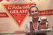 Serving up some delicious gelato at the L'Arte del Gelato booth at the Fancy Food Show.
