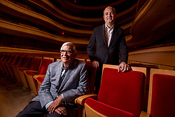 May 2, 2017 - Costa Mesa, CA, USA - Retiring Artistic Director of the Pacific Chorale John Alexander, left, with his successor Robert Istad in Costa Mesa on Tuesday, May 2, 2017. Istad has been the chorale's assistant conductor for the past 10 years. (Photo by Paul Rodriguez, Orange County Register/SCNG) (Credit Image: © Paul Rodriguez, Paul Rodriguez/The Orange County Register via ZUMA Wire)