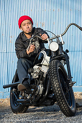 Hiromichi Nishiyama's Cycle West custom rigid framed Harley-Davidson Panhead after the Mooneyes Yokohama Hot Rod & Custom Show. Japan. December 8, 2016.  Photography ©2016 Michael Lichter.