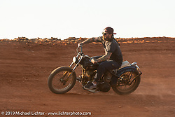 Noah O'Geen of Maui riding on the Sons of Speed banked oval track at the Full Throttle Saloon during the Sturgis Black Hills Motorcycle Rally. Sturgis, SD, USA. Tuesday, August 6, 2019. Photography ©2019 Michael Lichter.