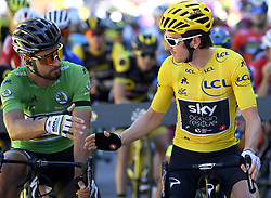 July 19, 2018 - Alpe D Huez, France - ALPE D'HUEZ, FRANCE - JULY 19 : SAGAN Peter (SVK) of Bora - Hansgrohe & THOMAS Geraint (GBR) of Team SKY during stage 12 of the 105th edition of the 2018 Tour de France cycling race, a stage of 175.5 kms between Bourg-Saint-Maurice Les Arcs and Alpe D'huez on July 19, 2018 in Alpe D'huez, France, 19/07/2018 (Credit Image: © Panoramic via ZUMA Press)