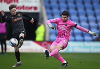 Shrewsbury Town's Matija Sarkic nearly has his kick charged down by Hull City's Keane Lewis-Potter<br /> <br /> Photographer Mick Walker/CameraSport<br /> <br /> The EFL League 1 - Shrewsbury Town v Hull City  - Saturday  20th March  2021 -  Montgomery Waters Meadow Stadium-Shrewsbury<br /> <br /> World Copyright © 2020 CameraSport. All rights reserved. 43 Linden Ave. Countesthorpe. Leicester. England. LE8 5PG - Tel: +44 (0) 116 277 4147 - admin@camerasport.com - www.camerasport.com