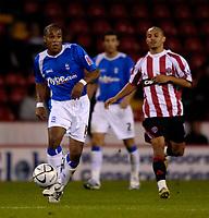 Photo: Jed Wee.<br /> Sheffield United v Birmingham City. Carling Cup. 24/10/2006.<br /> <br /> Birmingham's Neil Danns (L).