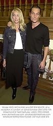 Model HEIDI WICHLINSKI and MR SEB BISHOP, at a reception in London on 22nd October 2001.OTG 105