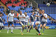 Jay Spearing DM (c) (Bolton Wanderers) clears the ball from the centre of his penalty box during the Pre-Season Friendly match between Bolton Wanderers and Preston North End at the Macron Stadium, Bolton, England on 30 July 2016. Photo by Mark P Doherty.