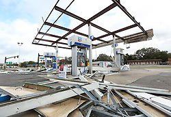 A Chevron gas station is wrecked in Leesburg, FL, USA on Monday, September 11, 2017. Hurricane Irma blew through the area late Sunday and early Monday, leaving widespread damage. Photo by Stephen M. Dowell/Orlando Sentinel/TNS/ABACAPRESS.COM