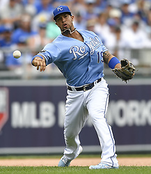 June 25, 2017 - Kansas City, MO, USA - A fielding error by Kansas City Royals third baseman Cheslor Cuthbert (19) in the sixth inning was compounded by an errant throw, leading to a Toronto Blue Jays run with the bases loaded on Sunday, June 25, 2017 at Kauffman Stadium in Kansas City, Mo. (Credit Image: © David Eulitt/TNS via ZUMA Wire)