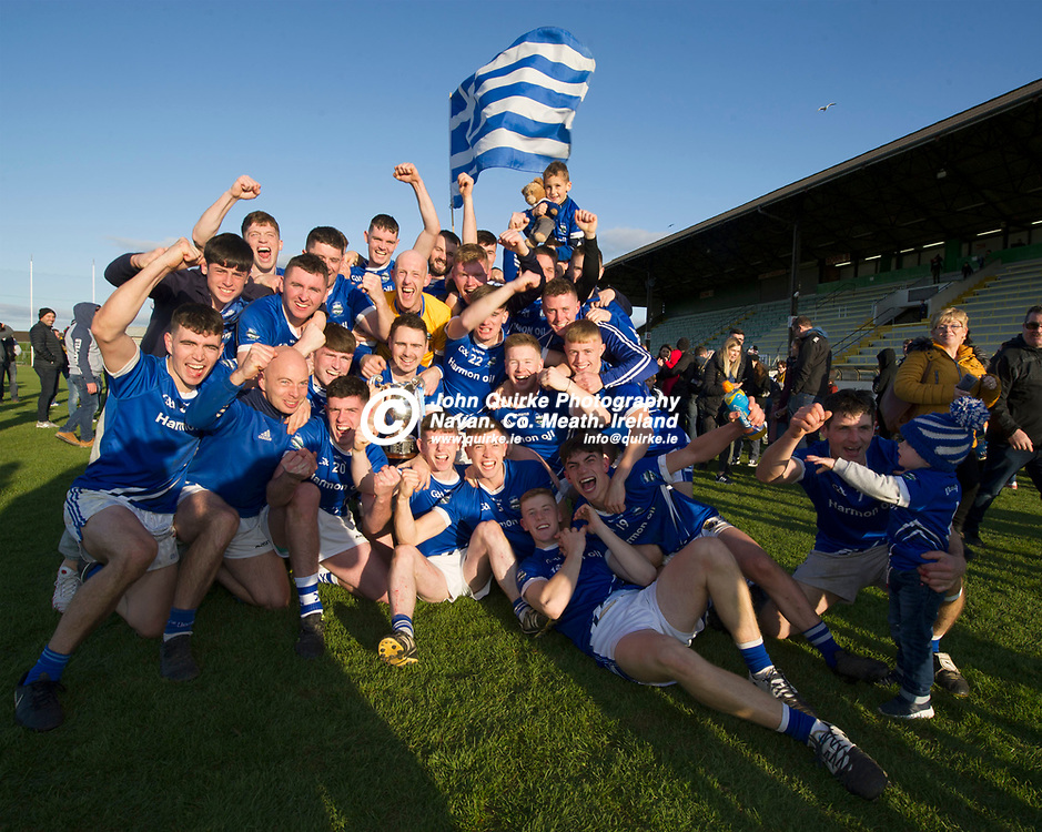 20-10-19. Kiltale v Kildalkey- Meath SHC Final (Replay) at Pairc Tailteann.<br /> Kildalkey celebrating with the Jubilee Cup.<br /> Photo: John Quirke / www.quirke.ie<br /> ©John Quirke Photography, Unit 17, Blackcastle Shopping Cte. Navan. Co. Meath. 046-9079044 / 087-2579454.