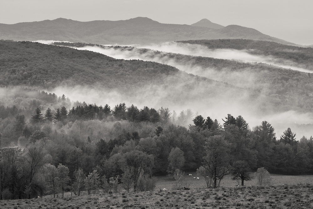 low hanging clouds in the Mad River Valley near Waitsfield, Vermont