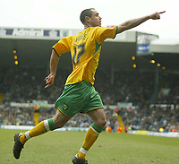 Photo: Aidan Ellis.<br /> Leeds United v Norwich City. Coca Cola Championship. 11/03/2006.<br /> Norwich's Andy Hughes celebrates his goal and the first for his team