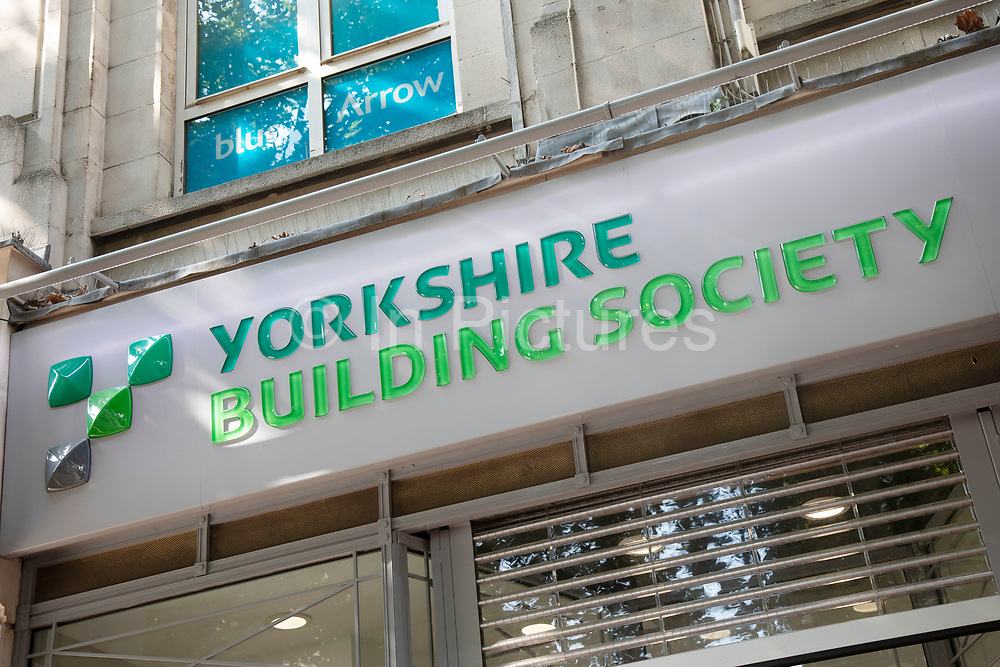 Sign for the brand and high street bank Yorkshire Building Society in Birmingham, United Kingdom.