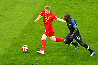 SAINT PETERSBURG, RUSSIA - JULY 10: Ngolo Kante (R) of France national team and Kevin De Bruyne of Belgium national team vie for the ball during the 2018 FIFA World Cup Russia Semi Final match between France and Belgium at Saint Petersburg Stadium on July 10, 2018 in Saint Petersburg, Russia. MB Media