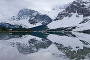 Bow Lake and the Canadian Rocky Mountains in cloud. Icefields Parkway. <br />