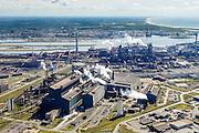 Nederland, Noord-Holland, IJmuiden, 01-08-2016; Velsen-Noord, terrein van Tata Steel met in de voorgrond de Oxystaalfabriek. Noordzeekanaal en hoogovens in de achtergrond.<br /> Tata Steel industrial site, steel works.<br /> <br /> luchtfoto (toeslag op standard tarieven);<br /> aerial photo (additional fee required);<br /> copyright foto/photo Siebe Swart
