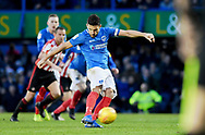 Goal - Portsmouth midfielder Gareth Evans (26) scores from a penalty during the EFL Sky Bet League 1 match between Portsmouth and Sunderland at Fratton Park, Portsmouth, England on 22 December 2018.
