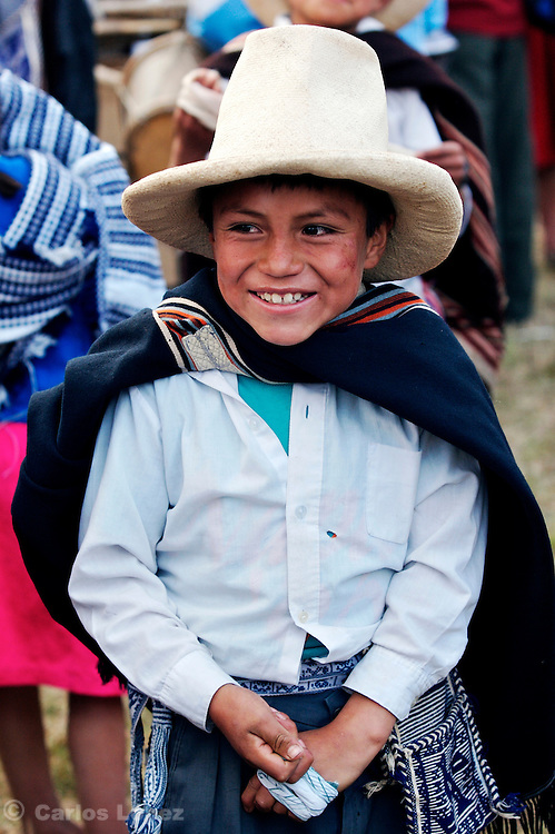 A BOY FROM THE TOWN OF LAMUD IN THE NORTHEN ANDES WEARING TRADITIONAL CLOTHES