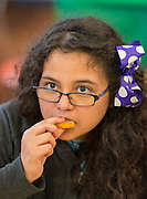 Students learn about the origins of several fruits and vegetables during an International Fruit and Vegetable Festival at Briscoe Elementary School, May 23, 2014.
