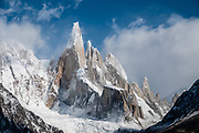 Cerro Torre (3,128 m or 10,262 ft elevation) in Los Glaciares National Park, near El Chalten mountain resort in Santa Cruz Province, Argentina, Patagonia, South America. We hiked 21 km (13 miles) round trip with 730 m (2400 ft) cumulative gain to Laguna Torre and Mirador Maestri. Los Glaciares National Park and Reserve are honored on UNESCO's World Heritage List.