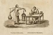 Stocking maker  -  China.  Engraving, 1812.