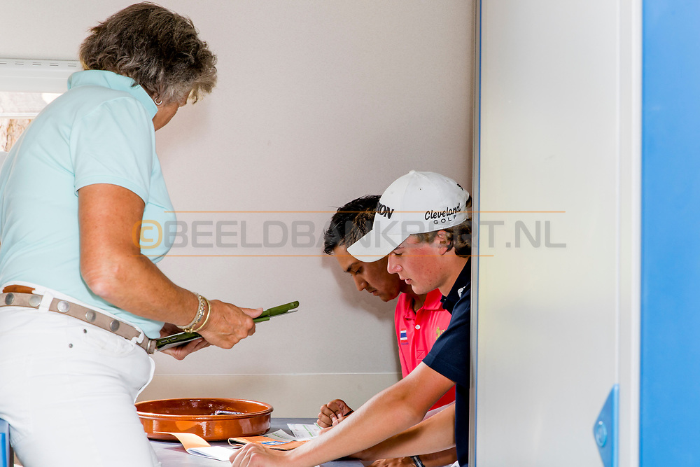 21-07-2018 Pictures of the final day of the Zwitserleven Dutch Junior Open at the Toxandria Golf Club in The Netherlands.  KAEWKANJANA, Sadom (TH) and VAN DER WEELE, Kiet (NL) checking the scorecards