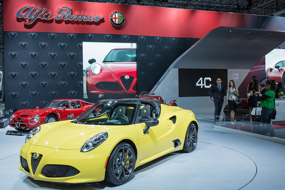 New York, NY - 1 April 2015. Alfa Romeo's 4C Spider shown at the New York International Auto Show. Alfa returned to the US market in 2014 after an absence of some years.