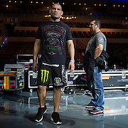Cain Velasquez waits backstage before the UFC weigh-in at the Mexico City Arena in Mexico City, Mexico on June 12, 2015. (Cooper Neill)
