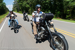 """Coast-to-coast """"Stampeder"""" Richard Gibson takes a ride Saturday morning during the Smokeout. Rockingham, NC. USA. June 20, 2015.  Photography ©2015 Michael Lichter."""