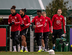 CARDIFF, WALES - Sunday, November 17, 2019: Wales' Tyler Roberts, captain Ashley Williams, Rabbi Matondo and Ryan Hedges during a training session at the Vale Resort ahead of the final UEFA Euro 2020 Qualifying Group E match against Hungary. (Pic by David Rawcliffe/Propaganda)