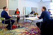 """UTRECHT, 14-10-2020, Enik Recovery College<br /> <br /> Koningin Maxima tijdens een werkbezoek aan Lister in Utrecht. Lister biedt herstelondersteunende begeleiding aan mensen met een psychische kwetsbaarheid. Het bezoek stond in het teken van de netwerksamenwerking 'gebiedsteam ggz' waarbij Lister samen met geestelijke gezondheidszorginstelling Altrecht begeleiding en behandeling dichtbij huis biedt. Het werkbezoek vond plaats bij het Enik Recovery College.<br /> <br /> Queen Maxima during a working visit to Lister in Utrecht. Lister offers recovery support to people with a psychological vulnerability. The visit was dominated by the network cooperation """"area team mental health care"""" in which Lister, together with mental health care institution Altrecht, offers guidance and treatment close to home. The working visit took place at the Enik Recovery College."""