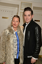 DAVINA HARBORD and RICHARD DENNEN at the launch of Mrs Alice in Her Palace - a fashion retail website, held at Fortnum & Mason, Piccadilly, London on 27th March 2014.