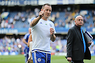 John Terry, the Chelsea captain gives a thumbs up the fans during a walk around the pitch after full time. Barclays Premier league match, Chelsea v Leicester city at Stamford Bridge in London on Sunday 15th May 2016.<br /> pic by John Patrick Fletcher, Andrew Orchard sports photography.
