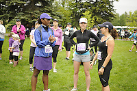 Marketing and promotional stock photography from the the STARBUCKS® RUN FOR WOMEN™ at Baker Park in Calgary, Alberta for use by the organizers and sponsors of the race.<br />