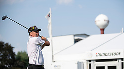 August 5, 2018 - Akron, OH, U.S. - AKRON, OH - AUGUST 05:   Ian Poulter (GBR) plays his shot from the 17th tee during the final round of the World Golf Championships - Bridgestone Invitational on August 5, 2018 at the Firestone Country Club South Course in Akron, Ohio. (Photo by Shelley Lipton/Icon Sportswire) (Credit Image: © Shelley Lipton/Icon SMI via ZUMA Press)