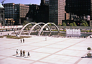 Nathan Phillips Square is an urban plaza in Toronto, Ontario, Canada opened 1965 photo from 1967