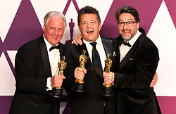 """Paul Massey, Tim Cavagin and John Casali, winners of the Best Sound Mixing Awards for """"Bohemian RhapsodyÓ at the 91st Annual Academy Awards (Oscars) presented by the Academy of Motion Picture Arts and Sciences.<br /> (Hollywood, CA, USA)"""