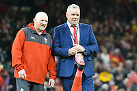 Rugby Union - 2020 Six Nations Championship - Wales vs. Italy<br /> <br /> Wales kicking coach Neil Jenkins & Head Coach Wayne Pivac, at the Principality (Millennium) Stadium.<br /> <br /> COLORSPORT/WINSTON BYNORTH