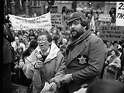 Irish Theatre Industry Protest..1983.07.12.1983.12.07.1983.7th December 1983..With the imposition of a 23% V.A.T. rate the Irish Theatre Industry was feeling the strain.Image shows  Maureen Potter the Star of Irish Theatre led the protest outside Leinster House, Dublin. Ably assisting was Bottler,aka Brendan Grace who joined her on the rostrum.
