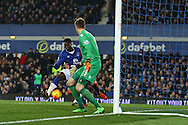 Romelu Lukaku of Everton gets the ball at the back post and scores his teams 1st goal to make it 1-1. Barclays Premier league match, Everton v Crystal Palace at Goodison Park in Liverpool, Merseyside on Monday 7th December 2015.<br /> pic by Chris Stading, Andrew Orchard sports photography.
