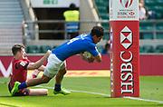 "Twickenham, Surrey United Kingdom. Samoan, Lafaele VAA, touches down during the Trophy Quarter Final, Samoa vs Wales, at the  ""2017 HSBC London Rugby Sevens"",  Sunday 21/05/2017 RFU. Twickenham Stadium, England    <br /> <br /> [Mandatory Credit Peter SPURRIER/Intersport Images]"