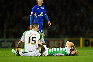 teammates Shane Duffy (L) and Luke Ayling (R) of Yeovil Town collide during the Skybet Championship match, Yeovil Town v Leicester City at Huish Park Stadium in Yeovil on Tuesday 1st October 2013. Picture by Sophie Elbourn, Andrew Orchard Sports Photography, contact &