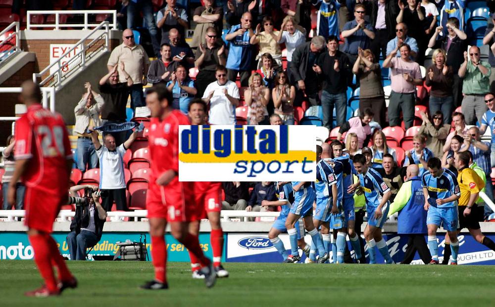 Photo: Marc Atkins.<br /> Rushden & Diamonds v Wycombe Wanderers. Coca Cola League 2. 22/04/2006. Wycombe players celebrate Roger Johnson's goal.