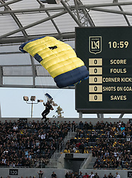 April 29, 2018 - Los Angeles, California, U.S - Opening game festivities featuring the US Navy Seals prior to the MLS game between the LAFC and the Seattle Sounders on Sunday April 29, 2018, their first game at the Banc of California Stadium in Los Angeles, California. LAFC defeats Sounders, 1-0. (Credit Image: © Prensa Internacional via ZUMA Wire)