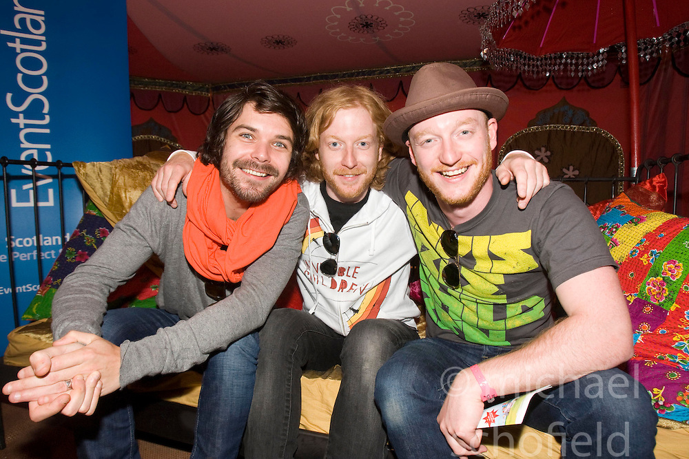 Lead singer Simon Neil, Ben Johnstone and James Johnston, from Biffy Clyro, talk to the press..Sunday, Rockness 2009..©2009 Michael Schofield. All Rights Reserved..