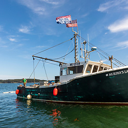 A lobster boat in Casco Bay, Portland, Maine.