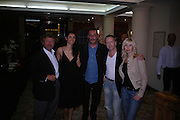 Alain-Dominique Perrin, Jean Reno and Zofia Borucka, Renaud  ( Sechan) and Romane. 4 Inches, A  Photographic Auction in aid of the Elton John Aids Foundation hosted by Tamara Mellon and Arnaud Bamberger. Christie's. 8 King St. London. 25 May 2005. ONE TIME USE ONLY - DO NOT ARCHIVE  © Copyright Photograph by Dafydd Jones 66 Stockwell Park Rd. London SW9 0DA Tel 020 7733 0108 www.dafjones.com