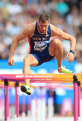 Serbia's Mihail Dudas in the 110m Hurdles element of the Men's Decathlon during day nine of the 2017 IAAF World Championships at the London Stadium. PRESS ASSOCIATION Photo. Picture date: Saturday August 12, 2017. See PA story ATHLETICS World. Photo credit should read: Adam Davy/PA Wire. RESTRICTIONS: Editorial use only. No transmission of sound or moving images and no video simulation.
