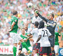 """28.07.2013, Weserstadion, Bremen, GER, 1.FBL, """"Tag der Fans 2013"""" des SV Werder Bremen, Testspiel SV Werder Bremen vs Fulham FC, im Bild Maaten Steklenburg (Fulham FC #1) rettet von Luca Caldirola (SV Werder Bremen #3) // during the """"Tag der Fans 2013"""" of the German Bundesliga Club SV Werder Bremen at the Weserstadion, Bremen, Germany on 2013/07/28. EXPA Pictures © 2013, PhotoCredit EXPA Andreas Gumz ***** ATTENTION - OUT OF GER *****"""