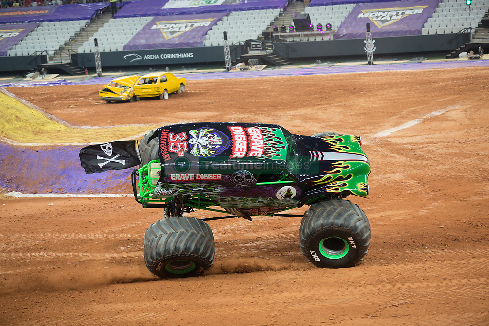December 16, 2017 - Sao Paulo, Sao Paulo, Brazil - Grave Digger on two wheels during the Monster Jam 2017 at Corinthians Stadium, in Sao Paulo, Brazil (Credit Image: © Paulo Lopes via ZUMA Wire)