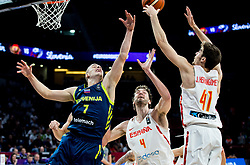 Klemen Prepelic of Slovenia vs Pau Gasol of Spain and Juancho Hernangomez of Spain during basketball match between National Teams of Slovenia and Spain at Day 15 in Semifinal of the FIBA EuroBasket 2017 at Sinan Erdem Dome in Istanbul, Turkey on September 14, 2017. Photo by Vid Ponikvar / Sportida