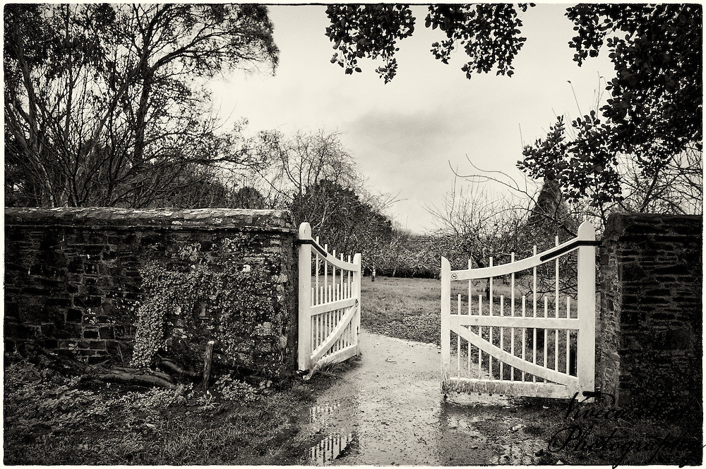 Gate to the orchard at Cotehele